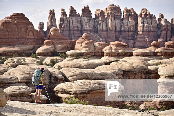 Female hiker admiring Needles rock formation and surrounding landscape of Canyonlands National Park  Moab  Utah  USA