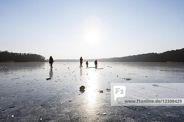 Deutschland  Brandenburg  Straussee  zugefrorener See und Silhouetten von Menschen auf dem Eis
