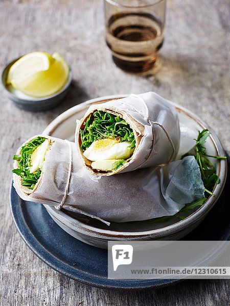 Avocado  rocket and egg wrap  close-up