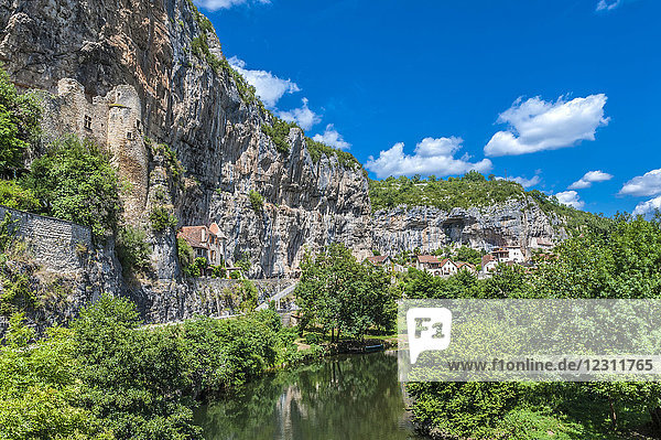 France  Lot  Cele Valley  Cabrerets  troglodyte castle and house in the cliff