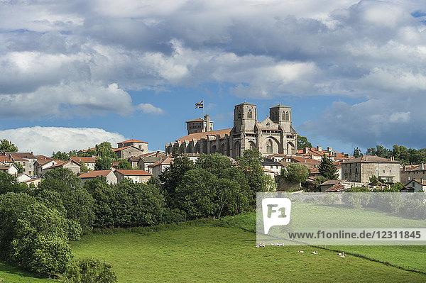 France  Auvergne-Rhones-Alpes  Haute-Loire  La Chaise-Dieu overlooked by the Saint Robert abbatial church