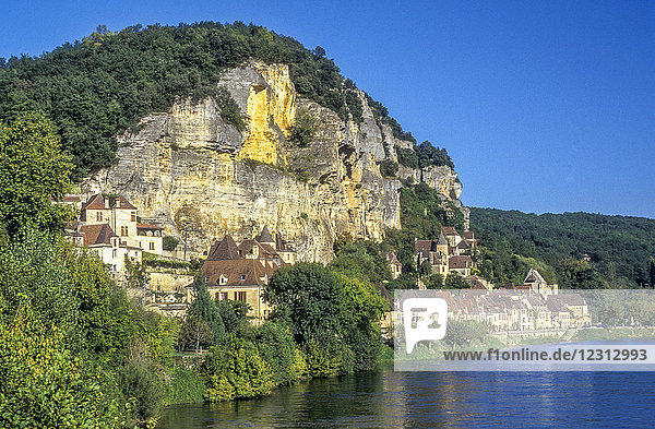 'France  Dordogne  La Roque Gageac (labelled ''Most Beautiful Village in France'') between the cliff and the river'
