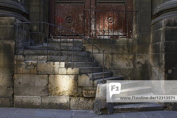 France,  Paris,  Saint-Sulpice Church,  old stone staircase.