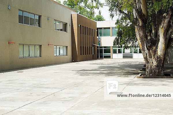 Empty school courtyard