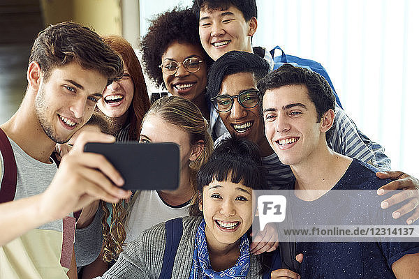 School friends posing together for selfie