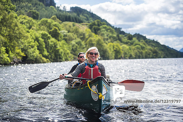 Canoeing Loch Ness section of the Caledonian Canal  near Fort Augustus  Scottish Highlands  Scotland  United Kingdom  Europe