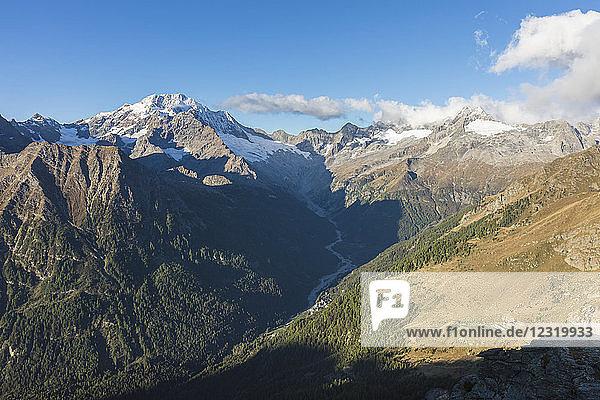 Monte Disgrazia seen from Valle di Chiareggio  Malenco Valley  province of Sondrio  Valtellina  Lombardy  Italy  Europe