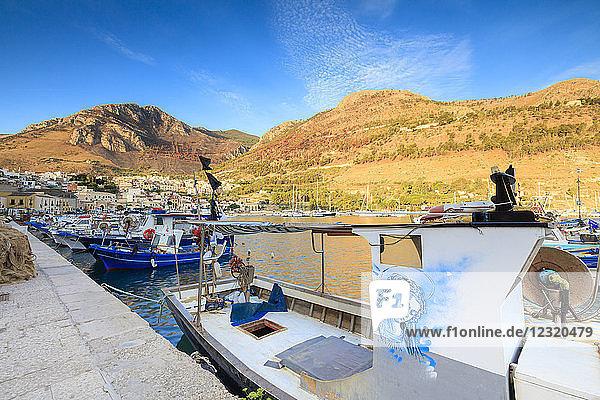 Fishing boats at the harbor  Castellammare del Golfo  province of Trapani  Sicily  Italy  Mediterranean  Europe
