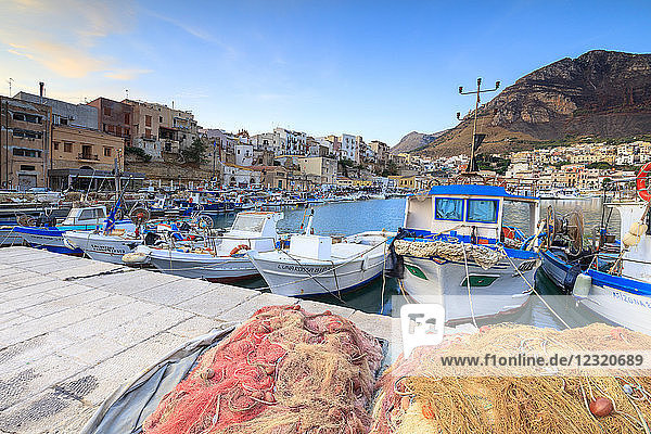 Fishing boats at the harbor  Castellammare del Golfo  province of Trapani  Sicily  Italy  Mediterranean  Europe
