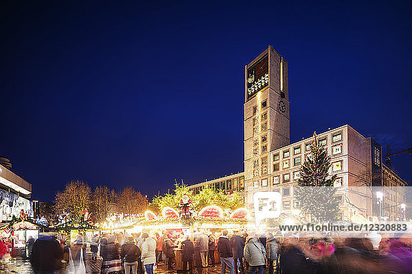 Christmas market at Town Hall square  Stuttgart  Baden-Wurttemberg  Germany  Europe