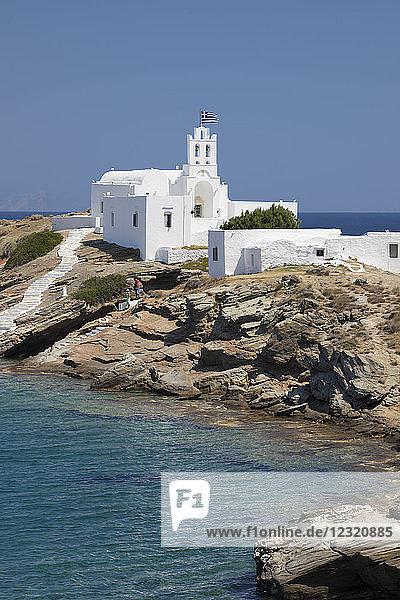 View of Chrisopigi Monastery  Chrisopigi  Sifnos  Cyclades  Aegean Sea  Greek Islands  Greece  Europe