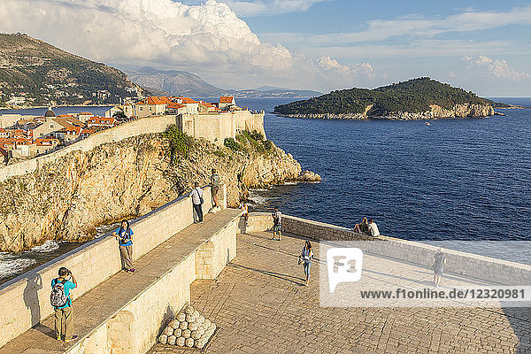 View from Lovrijenac Fortress to the city walls of the old town of Dubrovnik and Lokrum Island  Dubrovnik  Croatia  Europe