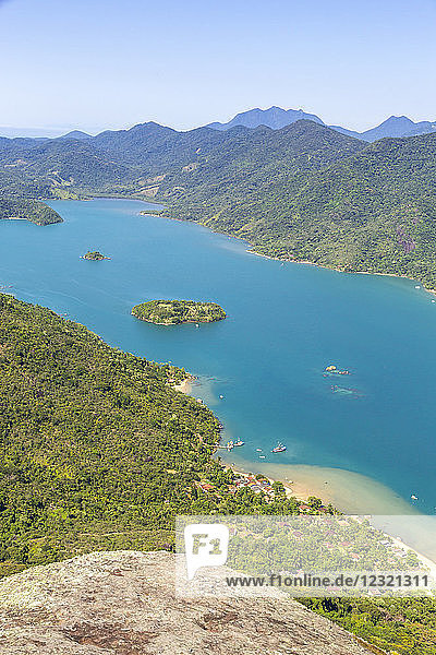 Elevated view from Sugar Loaf peak over the fjord-like bay  Saco do Mamangua  Paraty  Rio de Janeiro  Brazil  South America