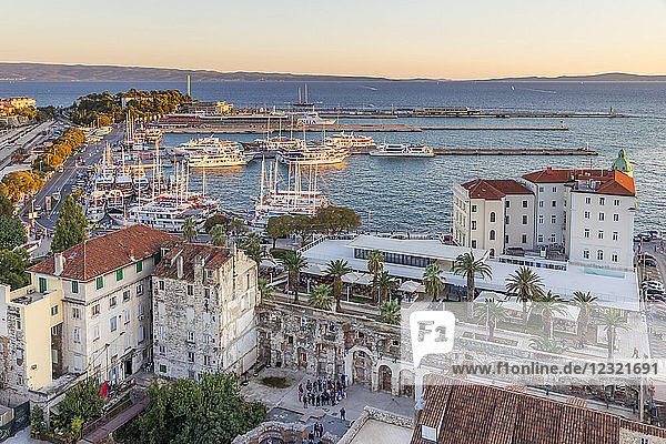 Elevated view from the bell tower of the Cathedral over the port  Split  Croatia  Europe