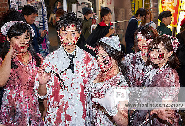 Doctors and nurses zombie costumes at the Halloween celebrations in Shibuya  Tokyo  Japan  Asia