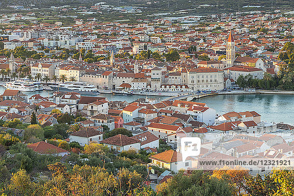 Elevated view over the old town of Trogir at sunset  Trogir  Croatia  Europe