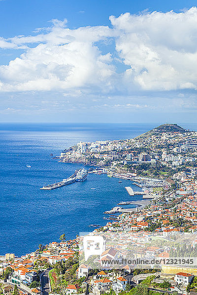 View over Funchal  capital city of Madeira  city  port and harbour  Madeira  Portugal  Atlantic  Europe