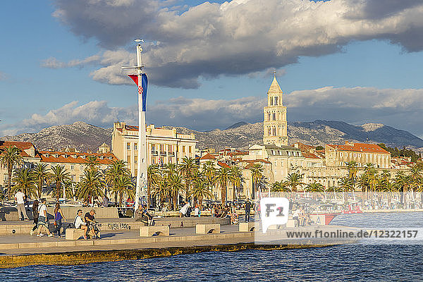 View from the seaside promenade (Riva) to the old town of Split  Croatia  Europe