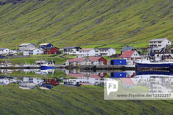 Village of Hvannasund  Vidoy Island  Faroe Islands  Denmark  Europe