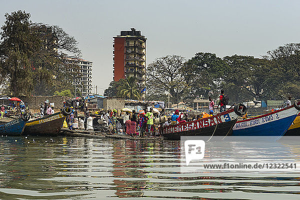 Local fishing boats in the harbour of Conakry  Republic of Guinea  West Africa  Africa