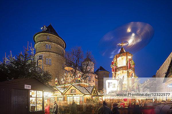 Christmas market at Schillerplatz  Stuttgart  Baden-Wurttemberg  Germany  Europe