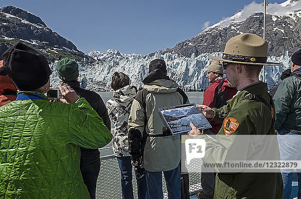 Tourists on board the Baranof Wind sightseeing at Margerie Glacier  Tarr Inlet  Glacier Bay National Park and Preserve  Southeast Alaska; Alaska  United States of America