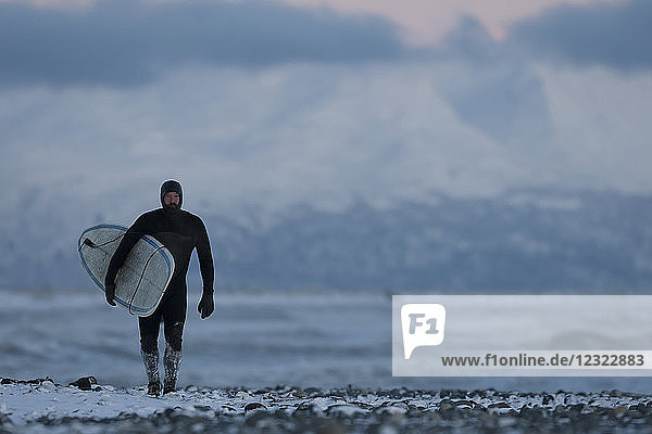 Man with surfboard walking on the snow on Homer beach in winter  South-central Alaska; Homer  Alaska  United States of America