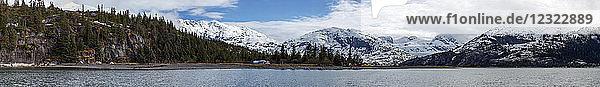 Panorama of Nellie Juan Glacier near Whittier  South-central Alaska; Alaska  United States of America