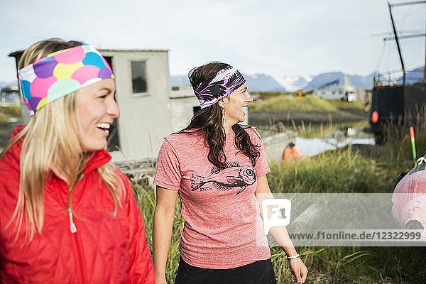 Young women hanging out along coastal Homer  South-central Alaska  USA