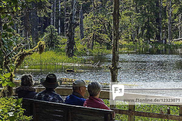 Tourists relaxing on a viewing bench overlooking a pond along Forest Trail near Bartlett Cove  Glacier Bay National Park and Preserve  Southeast Alaska; Alaska  United States of America