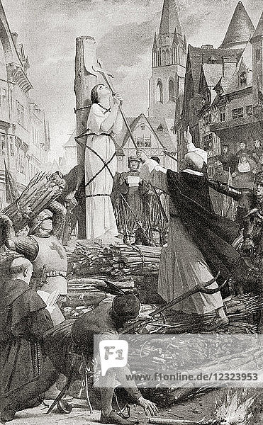 The martydom of Joan of Arc. Joan of Arc  c. 1412 -1431  aka The Maid of Orléans. Heroine of France for her role during the Lancastrian phase of the Hundred Years' War and canonized as a Roman Catholic saint. From Hutchinson's History of the Nations  published 1915.