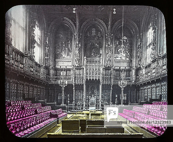 Magic Lantern slide circa 1900 hand coloured views of London  England in Victorian times. Slide 23 The House of Lords