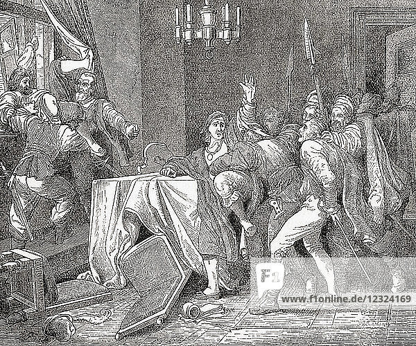 Jaroslav Bo?ita of Martinice and Vilém Slavata of Chlum thrown from the window of the palace in Prague during the The Defenestration of Prague in 1618. Jaroslav Bo?ita z Martinic  1582 – 1649. Czech nobleman and a representative of Ferdinand II  Holy Roman Emperor. Vilém Slavata z Chlumu a Košumberka  1572 – 1652. Czech nobleman. From Ward and Lock's Illustrated History of the World  published c.1882.