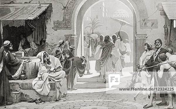 Mordecai refusing to bow before Haman. From Hutchinson's History of the Nations  published 1915