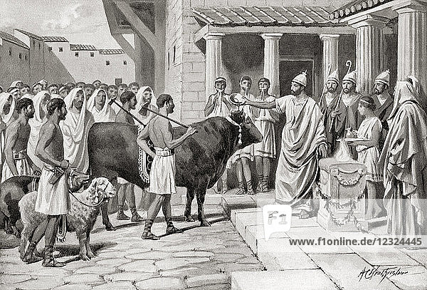 Romans offering sacrifices to the Gods  their most usual offerings were the suovetaurilia  consisting of a pig  a sheep and an ox. The animals were killed by a specially appointed person called a popa  and the better part of the intestines  covered with barley-meal  wine and incense  were burnt upon the altar. From Hutchinson's History of the Nations  published 1915.