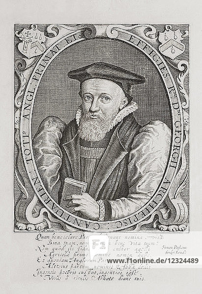 George Abbot  1562–1633. Anglican divine. Master of University College  Oxford from 1597  Dean of Winchester from 1600  Archbishop of Canterbury from 1611. After an engraving by Simon van de Passe (c. 1595-1647) from Woodburn's Gallery of Rare Portraits  published 1816.