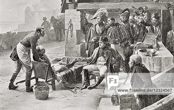 Napoleon visiting the wounded after The Battle of Ulm  1805. Napoléon Bonaparte  1769 – 1821. French statesman and military leader. From Hutchinson's History of the Nations  published 1915