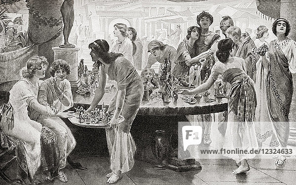A market scene in ancient Pompeii   Italy  before its destruction in the eruption of Mount Vesuvius in 79 AD. From Hutchinson's History of the Nations  published 1915.