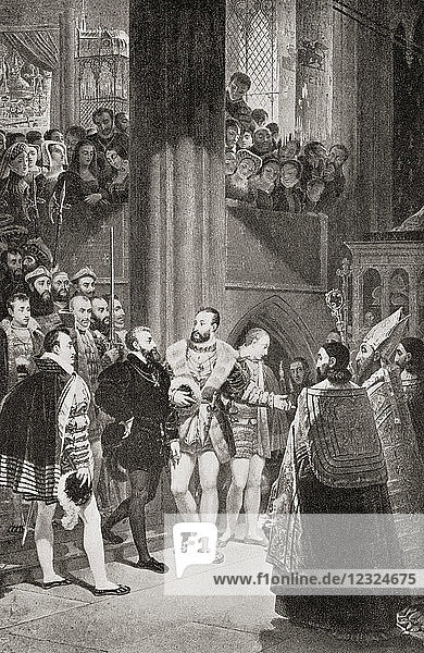 The reconciliation of Francis I and Charles V in Aigues-Mortes  France  after the Tuce of Nice 1538. Francis I  1494 – 1547. King of France. Charles V  1500 – 1558. Ruler of the Spanish Empire as Charles I from 1516 and the Holy Roman Empire as Charles V from 1519. From Hutchinson's History of the Nations  published 1915.