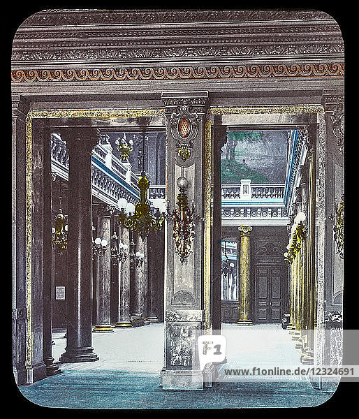 Magic Lantern slide circa 1900. Victorian or Edwardian era. The origional monchrome ( black and white ) photograph hand coloured.The photograph is the work of G.W. Wilson photographer and slide manufacturer 1823-1893.George Washington Wilson (7 February 1823 – 9 March 1893) was a pioneering Scottish photographer. The French Riviera and Monte Carlo (lecture ) . Slide 54 Foyer of the Casino in Monte Carlo