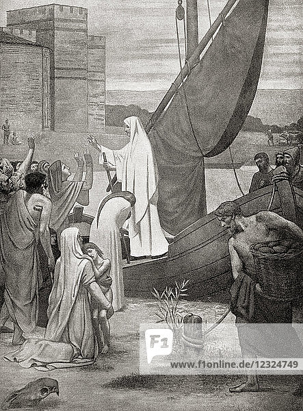 Saint Genevieve  the patron saint of Paris  taking supplies to the citizens of Gaul who were on the verge of starvation during the invasion by the Frankish king Childeric  464 AD. From Hutchinson's History of the Nations  published 1915.