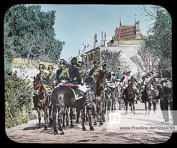 Magic Lantern slide circa 1900. Victorian or Edwardian era. The origional monchrome ( black and white ) photograph hand coloured.The photograph is the work of G.W. Wilson photographer and slide manufacturer 1823-1893.George Washington Wilson (7 February 1823 – 9 March 1893) was a pioneering Scottish photographer. The French Riviera and Monte Carlo (lecture ) Slide 19 Carnival Procession  Grasse