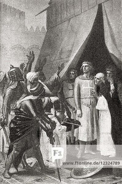 Louis IX taken prisoner at the Battle of Fariskur during the Seventh Crusade which lasted from 1248 to 1254. From Hutchinson's History of the Nations  published 1915.