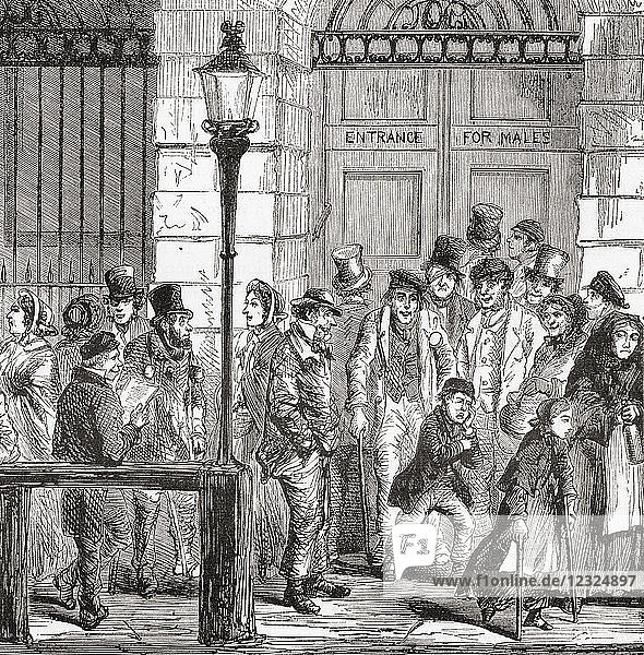 Poor people waiting at a hospital door in early 19th century London  England. From Ward and Lock's Illustrated History of the World  published c.1882.