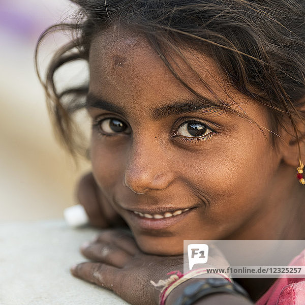 Portrait of a young Indian girl; Jaisalmer  Rajasthan  India