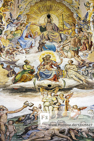 Large  colourful fresco called 'The Last Judgement' with Christ painted under the dome in the Florence Cathedral; Florence  Tuscany  Italy