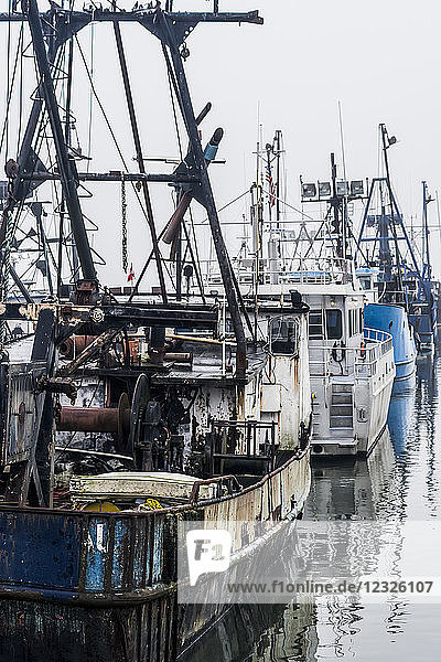 Commercial fishing boats rest at the dock; Astoria  Oregon  United States of America