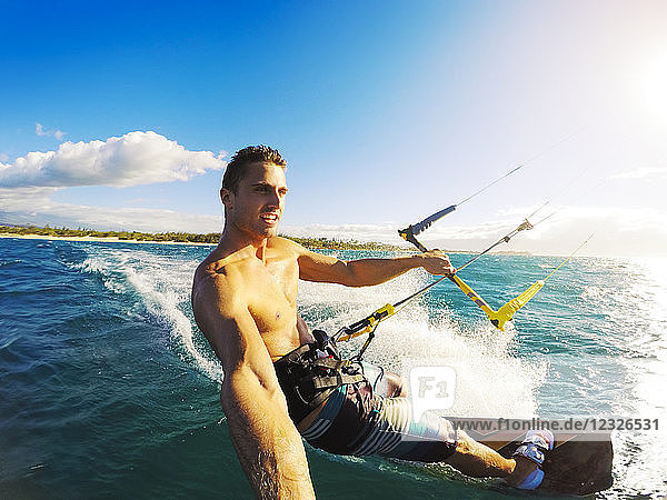 Kiteboarding. Fun In The Ocean  Extreme Sport Kitesurfing. Pov Angle With Action Camera