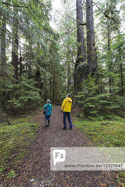 A senior couple walking on Golden Spruce Trail in an old growth forest; Port Clement  Haida Gwaii  British Columbia  Canada