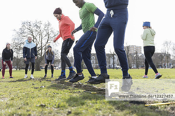 People exercising in park